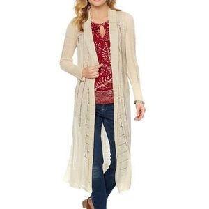 Lucky Tan Eyelet Long Duster Cardigan Size Small